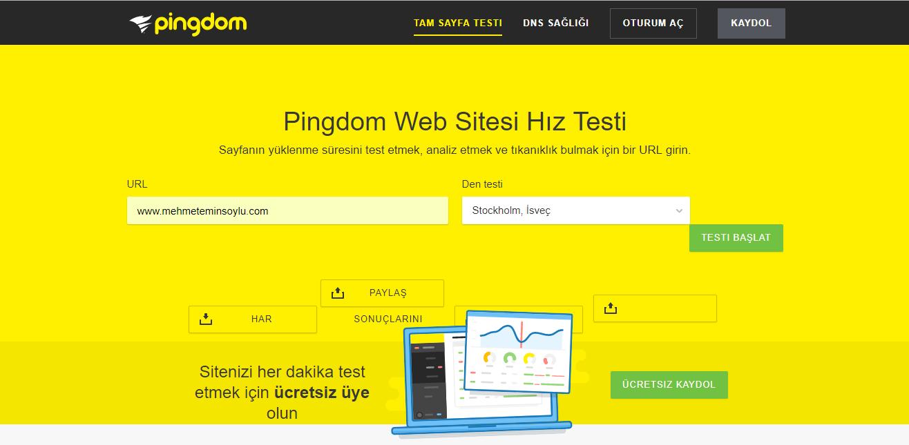 pingdom - Wordpress Hız Optimizasyonu