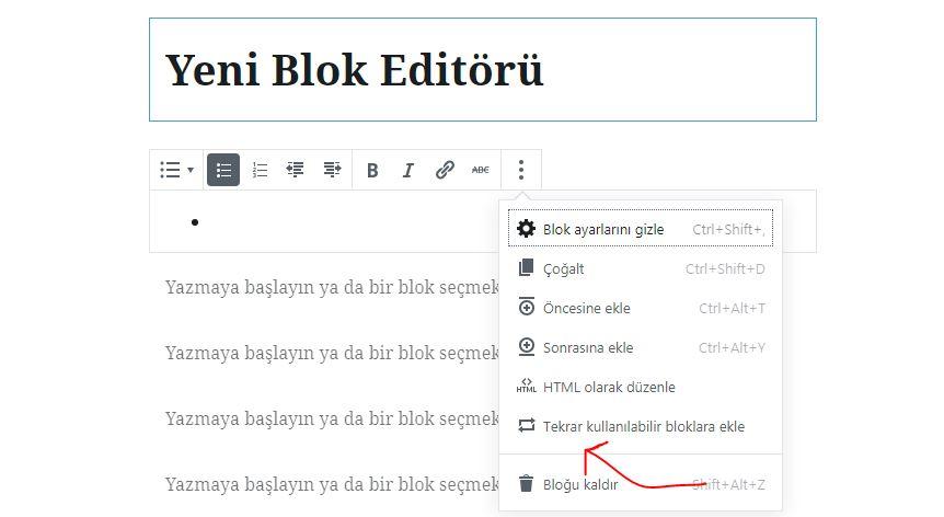 tekrar kullanilir blog - Gutenberg Nasıl Kullanılır?