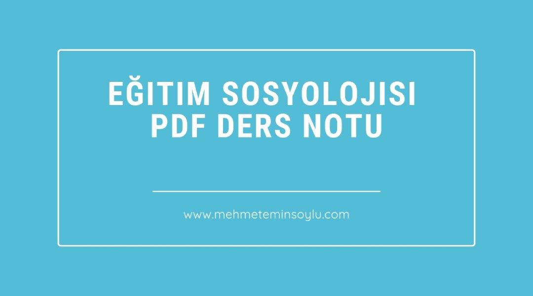 Eğitim Sosyolojisi Pdf