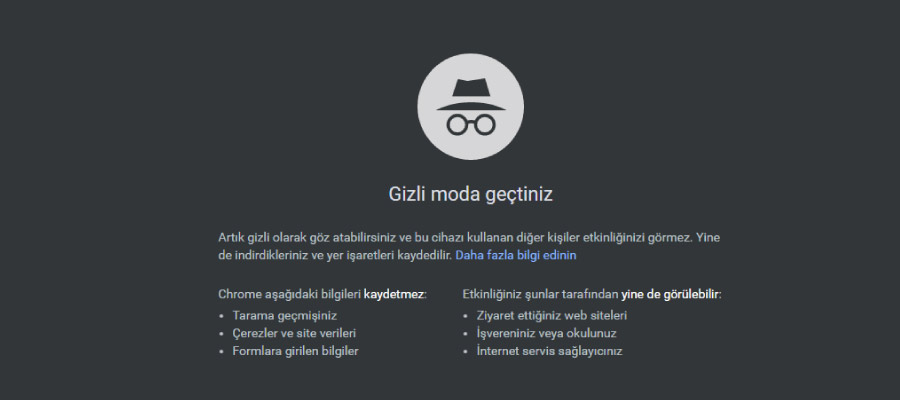 chrome gizli mod - İşinizi Kolaylaştıracak Google Chrome Kısayolları