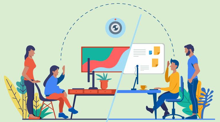 Video konferans uygulamaları ile toplantı gerçekleştiren insanlar.